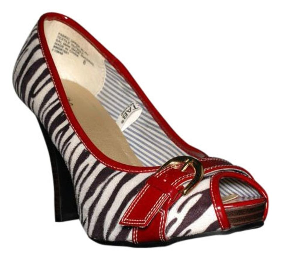 Zebra Red Peep Toe Shoes