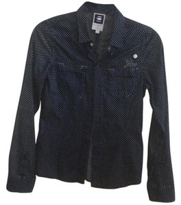 G-Star RAW Button Down Shirt Blue with white polka dots