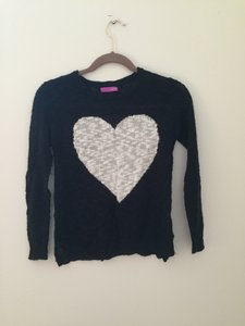 Aqua Heart Graphic And White Fun Sweater