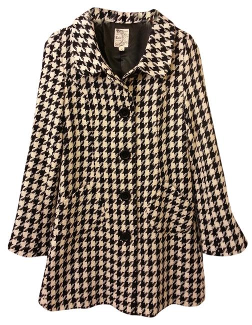 Item - Black & White Wool Blend Houndstooth Coat Size 4 (S)