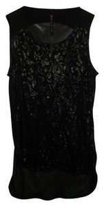 Karen Millen Paisley Highlow Sheer Print Top Black