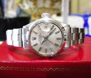 Rolex Ladies Vintage Rolex Oyster Perpetual Date 6516 Stainless Steel Watch Circa 1968