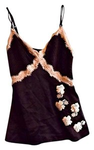 Guess Lace Trim Fitted New Top Black & Cream