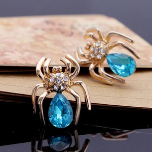 Blue Luxury 18kg Plated Sparking Austria Crystal Zircon Spider Stud Earrings