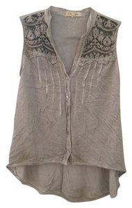 Black Swan Lace Casual Pretty Top light gray