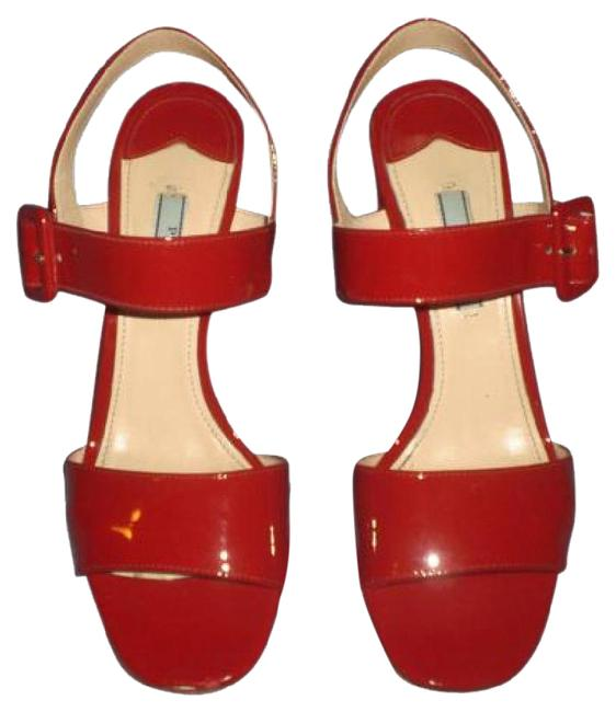 "Prada Red Hot Patent Leather Chunky 3.5"" Heels Sandals Size EU 37.5 (Approx. US 7.5) Regular (M, B) Prada Red Hot Patent Leather Chunky 3.5"" Heels Sandals Size EU 37.5 (Approx. US 7.5) Regular (M, B) Image 1"