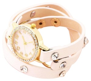 Other New Gold Tone White Leather Band Wrap Around Wrist Watch J2599