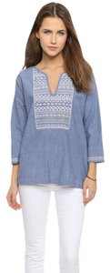 Joie Peasant Embroidered Chambray Cotton 3/4 Sleeves Top Chambray Blue
