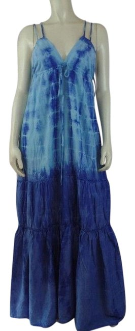 Preload https://img-static.tradesy.com/item/15824728/seaton-maxi-dress-xs-blue-tie-dye-cotton-tiered-ruffle-boho-peasant-0-1-650-650.jpg