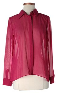 BCBGeneration Sheer Button Down Shirt Magenta