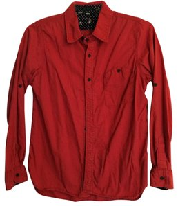 Anthropologie Button Down Shirt Red