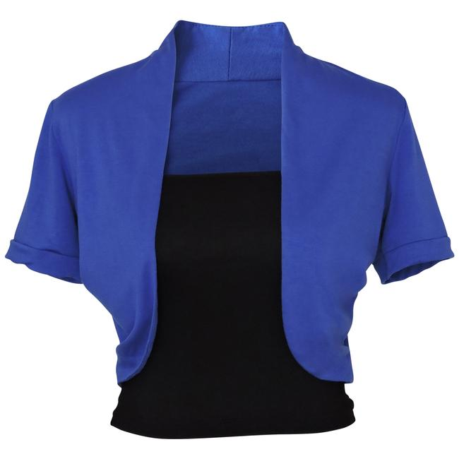 Preload https://img-static.tradesy.com/item/158252/blue-short-sleeve-bolero-shrug-w-tube-top-2-separate-pieces-activewear-jacket-size-12-l-32-33-0-1-650-650.jpg