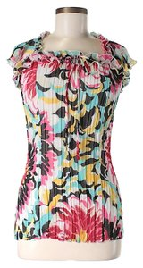 Alberto Makali Floral Pleated Ruffle Top