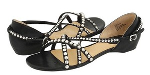 Frye Studded Leather Sexy Rare Sold Out Black and chrome Sandals