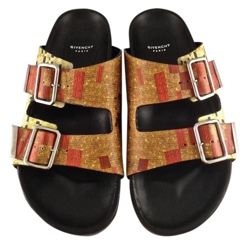 Givenchy Leather Orange Birkenstock Birk Multicolor Leather Givenchy Buckle Gladiator 37 Sandals 7b4fbd