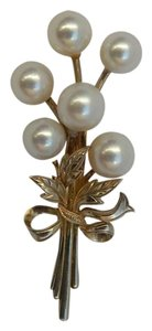 MIKOMOTO Vintage 50's Tokyo Pearl Gold Sterling Silver Floral Spray Brooch