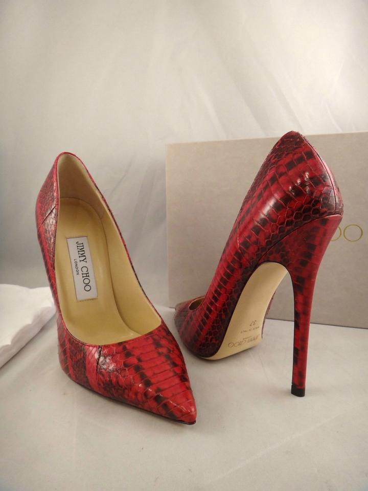60aaf97a8ca Jimmy Choo Red Anouk Snakeskin Glossy Leather Pointed Heel 42 Pumps ...