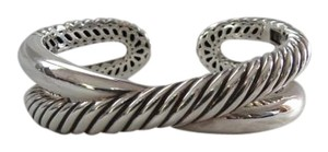 David Yurman David Yurman Crossover Collection - Smooth/Twisted Cable Sterling Silver Hinged Cuff Bracelet, Medium
