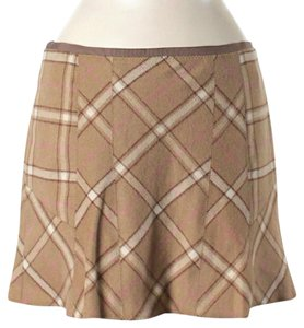 Vince Wool Plaid Mini Skirt Tan