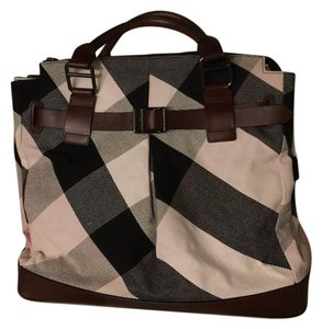 Burberry Canvas Tote in Plaid