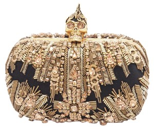 Alexander McQueen Glory Ice Ice Beaded Skull Gold Clutch