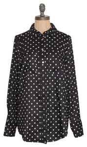BCBGMAXAZRIA Polka Dots Button Down Button Down Shirt BLACK