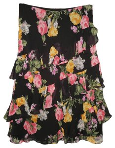 Chaps Tiered Floral Ruffled Chiffon Skirt