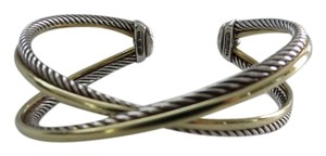 David Yurman David Yurman Crossover Collection - Smooth/Twisted Cable Sterling Silver/18k Yellow Gold Cuff, Medium
