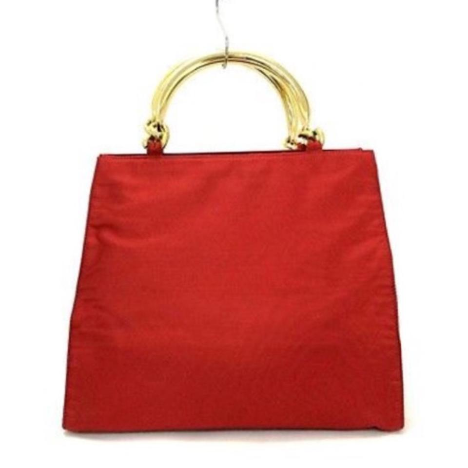 bbe978facda7 Prada Logo with Golden Handles Red Nylon Tote - Tradesy