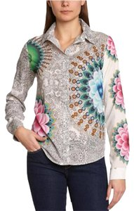Desigual Cotton Multi Printed Floral Button Down Shirt