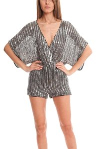 Parker Sparkle Luxury Romper Mini/Short Shorts Silver
