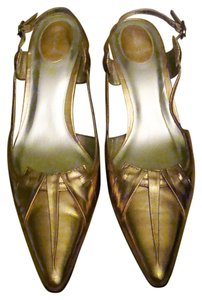 Nina Modest Heel Formal Metallic Shiny Leather Sole Pink Champagne Pumps
