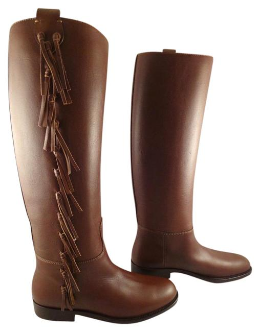 Valentino Brown Fringe Leather Knee High Flat Riding Boots/Booties Size EU 39.5 (Approx. US 9.5) Regular (M, B) Valentino Brown Fringe Leather Knee High Flat Riding Boots/Booties Size EU 39.5 (Approx. US 9.5) Regular (M, B) Image 1