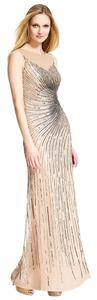 Adrianna Papell Beaded Gown Slit Bridesmaid Taupe Dress