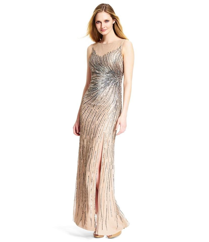 Adrianna Papell Taupe Pink Slit Beaded Mermaid Gown Long Formal ...