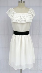 Other Ruffle Bust Chiffon Sash Dress