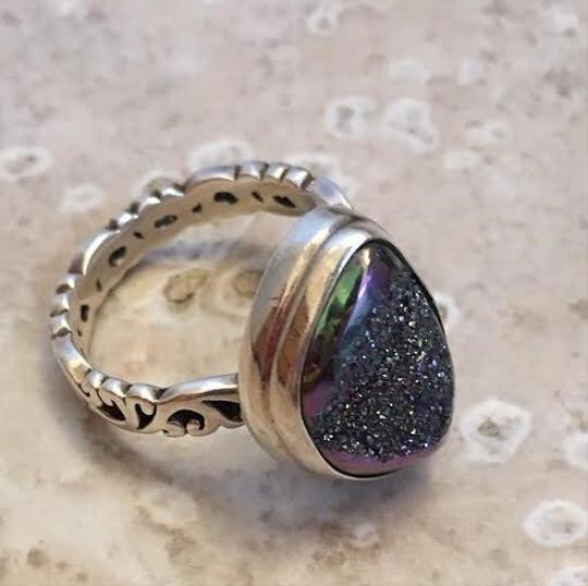 Other Blue Green Titanium Druzy Sterling Silver Ring