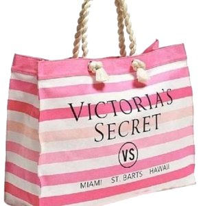 Victoria Secret White and Pink flip flops and Beach bag Pink and White Beach Bag