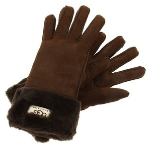 UGG Australia UGG Classic Turn Cuff Glove - Chocolate, Medium, Shearling Sheepskin