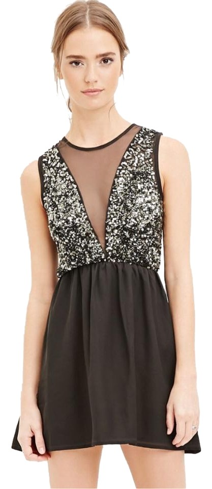 Forever 21 Blackantique Gold Above Knee Night Out Dress Size 4 S