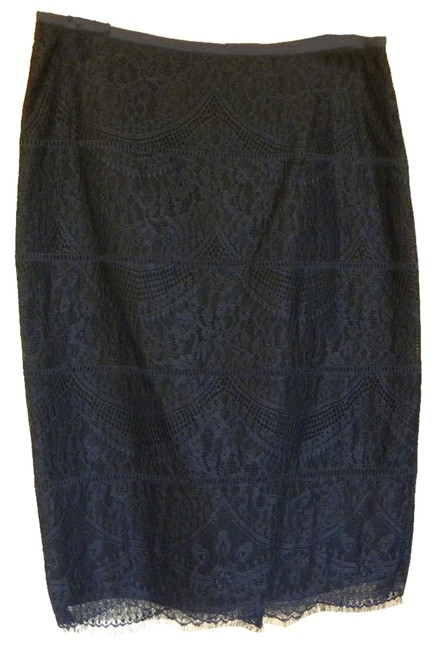 Magaschoni Lace Pencil Skirt Navy