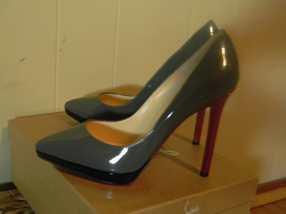 Christian Gray Louboutin Gray Christian Patent Leather Pigalle Pumps bb4115