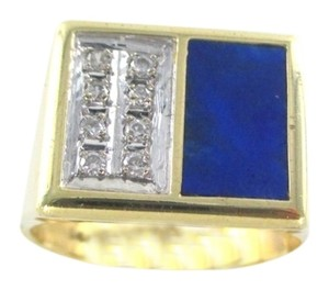 Other 14KT SOLID YELLOW GOLD LAPIZ LAZULI RING 8 DIAMONDS SZ 8 FINE JEWELRY SQUARE