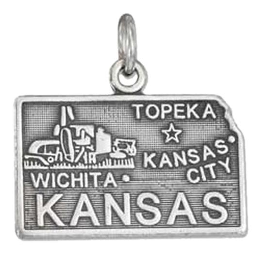 Unknown Sterling Silver Antiqued Kansas State Charm