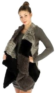 Neiman Marcus Rex Rabbit Fur Vest Knitted Real Vest