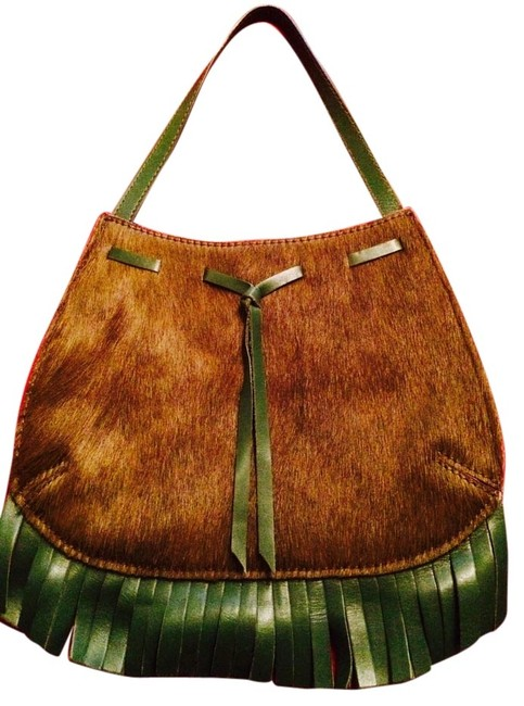 Item - Bag Fringe Small Wristlet Olive Green/Green Ponyskin Calf-skin Leather Tote
