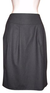 Pure Collection Wool Pencil Pleated Pockets Skirt Black