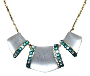 Alexis Bittar Alexis Bittar Three-part Cabochon Lucite Bib Necklace ~ Silver White Bridal