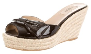 Valentino Patent Leather Peep Toe Bow Jute Woven Black, Beige Sandals