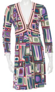 Emilio Pucci short dress Purple, Green, White Longsleeve Print Monogram Logo V-neck on Tradesy